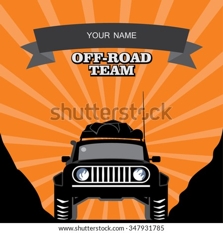 black-and-white silhouette of forward part of the equipped off-road expedition car with luggage on the sunset background - stock vector