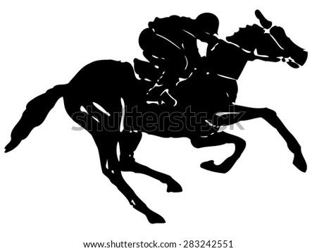 black and white silhouette rider on horse, white background , grunge illustration - stock vector