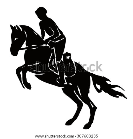 black and white silhouette , rider on horse, white background , grunge isolated sketch - stock vector
