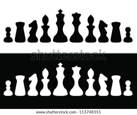 Black and white silhouettes chessmen-vector - stock vector