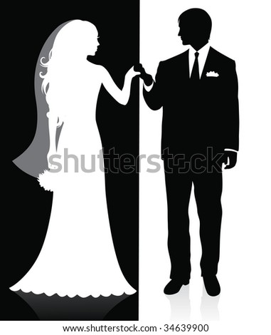Black and white silhouettes of a groom and a bride holding hands and standing. - stock vector