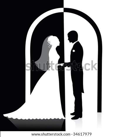 Black and white silhouettes of a groom and a bride holding hands and standing under an arch. - stock vector