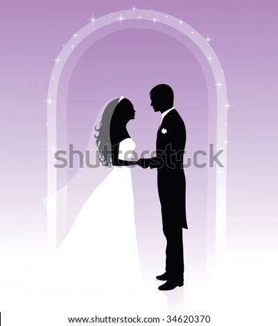Black and white silhouettes of a groom and a bride holding hands and standing under an arch on a purple background. - stock vector