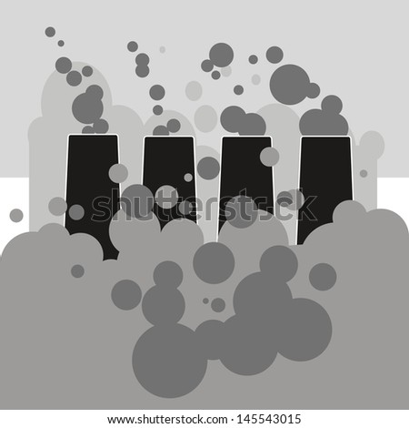 black and white silhouettes of industrial chimney atmospheric pollution clouds. - stock vector