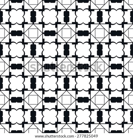 Black and white simple geometric pattern, trendy monochrome background with repeating texture, vector illustration - stock vector
