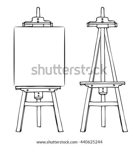 Black White Sketch Easel Vertical Canvas Stock Vector 440625244 ...