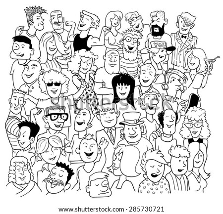 Black and White Sketch in Doodle Style. Group of Funny People on White. Vector Illustration for Cover Design. - stock vector