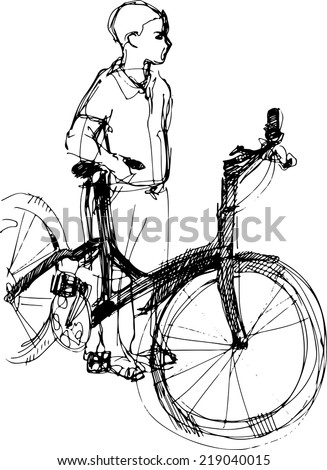 black and white sketch of a boy standing with bicycle  - stock vector