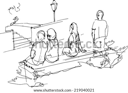 black and white sketch of a group of people relaxing on a park bench  - stock vector