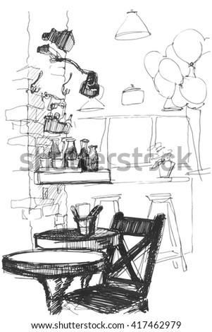 black and white sketch of a vector table and chair in the interior of a cafe
