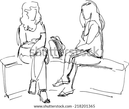 black and white sketch of two friends sitting on bench  - stock vector
