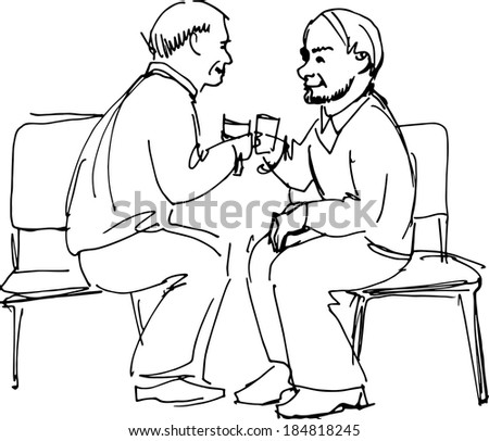 black and white sketch vector two grandfathers drink sitting on chairs