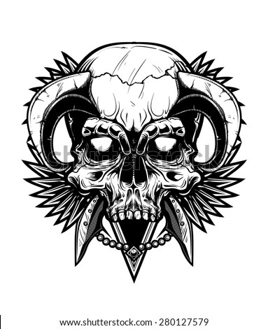 Black and White Skull - stock vector