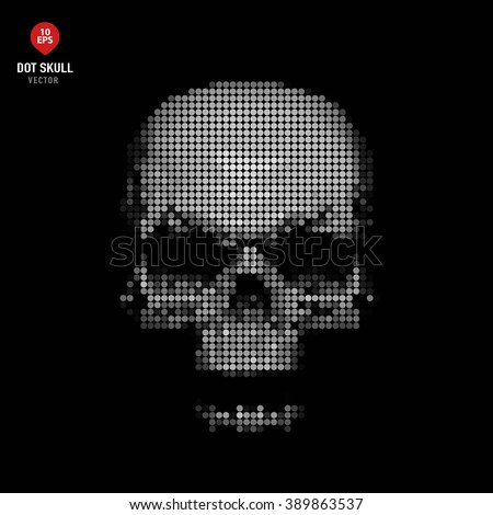 Black and white skull made of dots