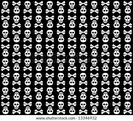Black-And-White skulls background. Fun. Vector illustration.