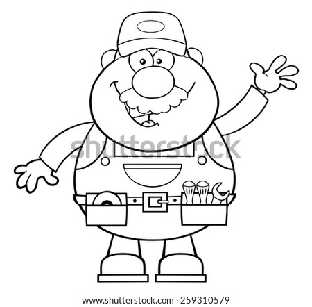 Black And White Smiling Mechanic Cartoon Character Waving For Greeting. Vector Illustration  - stock vector