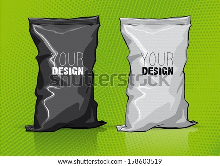Black and white snack package for new design. Sketch style - stock vector