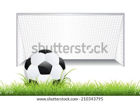 Black and white soccer ball and soccer goal. - stock vector