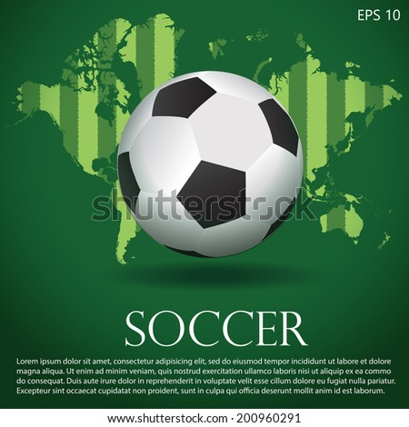 Black and white soccer ball or football on background of green field pattern world map
