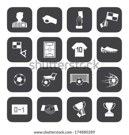 Black and White Soccer football icons vector eps10 - stock vector