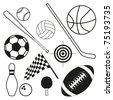 Black and white sport ball and equipment - stock photo