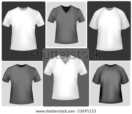 Black and white sporty polo shirts and t-shirts. Photo-realistic vector illustration.