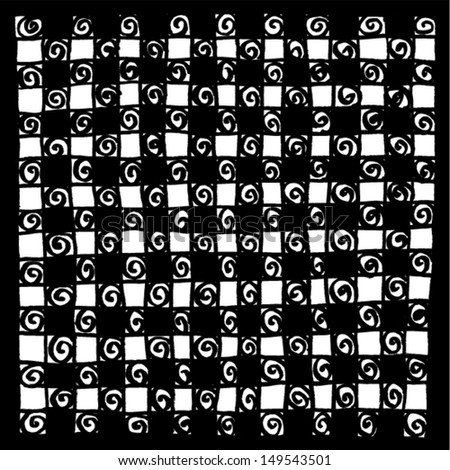 Black and White squares in chess board style. Vector. - stock vector