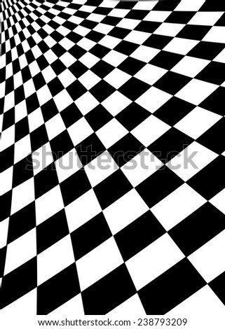 Black and white squares. Opt-art illustration - stock vector