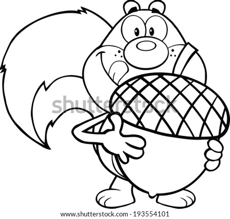 Black And White Squirrel Cartoon Mascot Character Holding A Big Acorn. Vector Illustration Isolated on white - stock vector