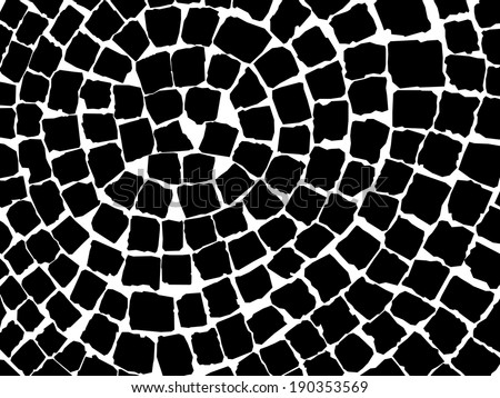 black and white stone pavers pattern - stock vector