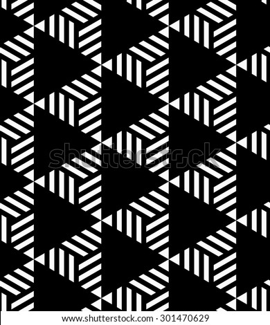 Black and white striped and black triangles.Seamless stylish geometric background. Modern abstract pattern. Flat monochrome design.