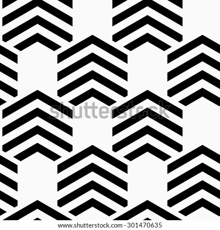 Black and white striped hexagons.Seamless stylish geometric background. Modern abstract pattern. Flat monochrome design.