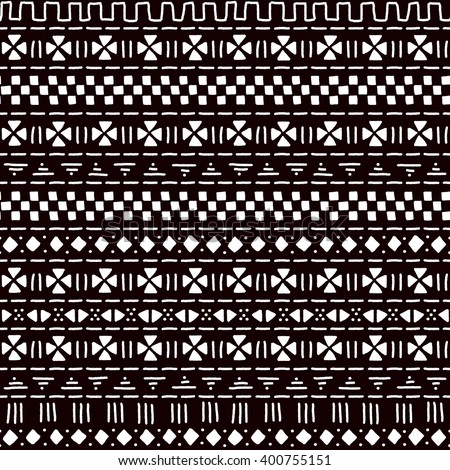 black and white striped ornament traditional african mudcloth fabric seamless pattern vector