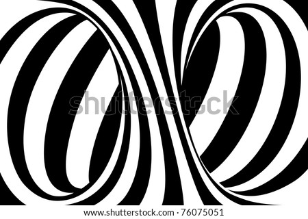 Black and White Stripes Projection on Torus. Vector Illustration - stock vector