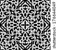 Black and white swirly ornament, vector seamless pattern - stock vector
