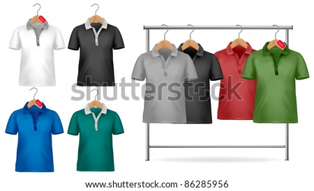 Black and white t-shirt design template. Clothes hanger with shirts with price tags. Vector illustration. - stock vector