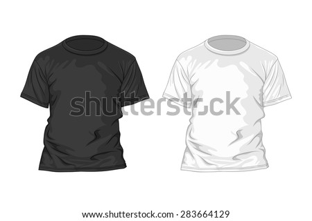 Black and white t-shirt design template. Vector illustration - stock vector