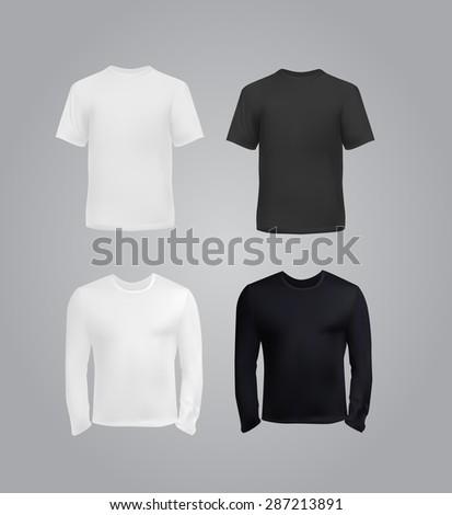 Black and white t-shirt templates for men, vector eps10 illustration. - stock vector