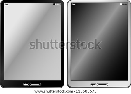 Black and white tablet computer on white background/Black and White tablet - stock vector