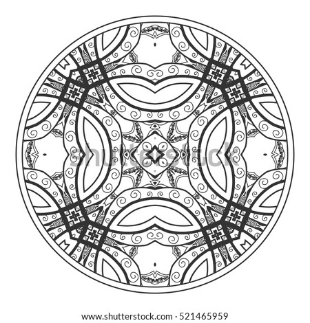 Black and white tangled round mandala. Tribal ethnic boho indian pattern. Image for anti-stress therapy, adult coloring book page, decorate plate, porcelain, ceramics, crockery. Geometric background