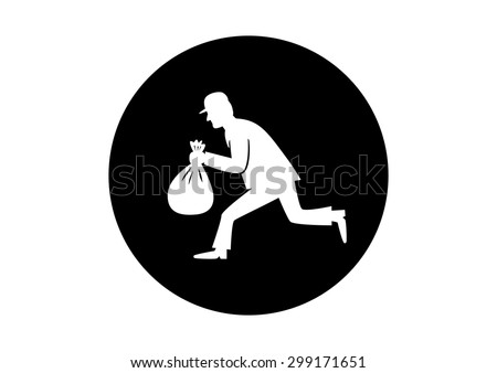 Black and white thief icon on white background - stock vector