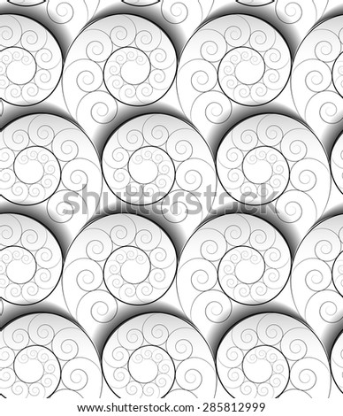 Black-and-white three-dimensional spiral seamless pattern. - stock vector