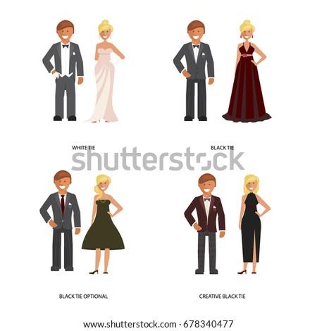 Black White Tie Dress Code Man Stock-Vektorgrafik (Lizenzfrei ...