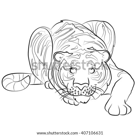 black and white tiger image - perfect for children's coloring books and not only - stock vector