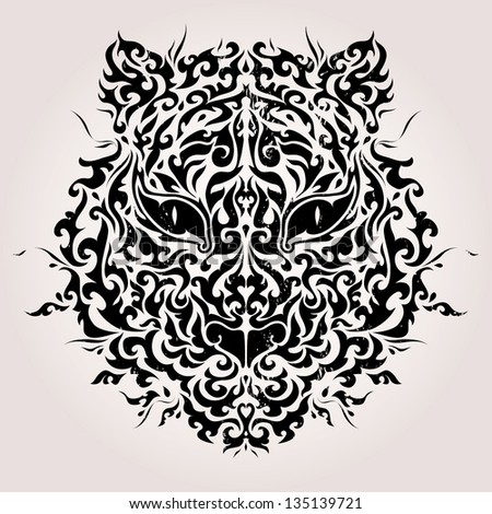 Black and white tiger mask vector illustration - stock vector