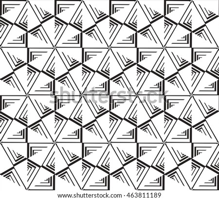 Black-and-white tones. Geometric patterns laid out on a hexagonal pattern of creating seamless vector illustrations. For the textile industry, interior design, graphic arts