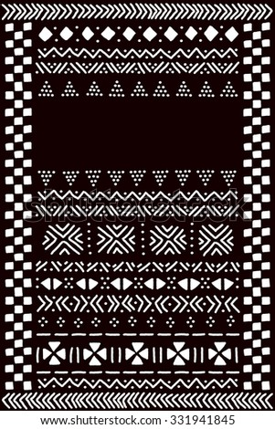 black and white traditional african mudcloth fabric template for a banner vector