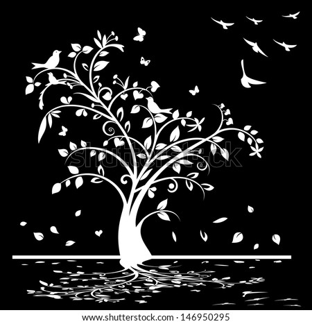 Black and white tree with birds and butterflies, jpg format also available - stock vector