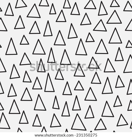 Black and white triangle geometric seamless pattern. Hand drawn abstract simple ornament. Vector illustration - stock vector