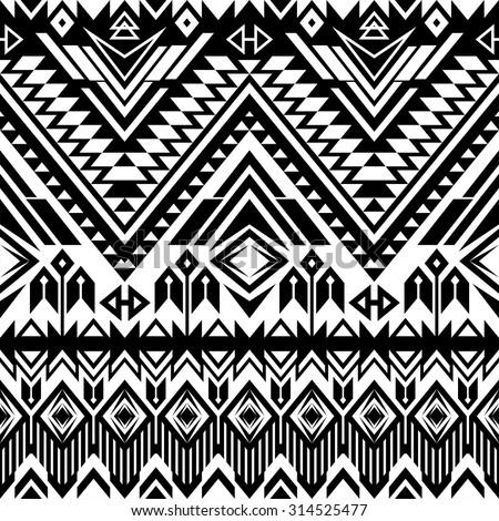 black white tribal navajo seamless pattern stock vector